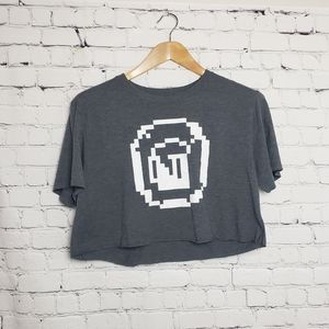 Super Mario Coin Graphic Cropped Tee T-Shirt Beer